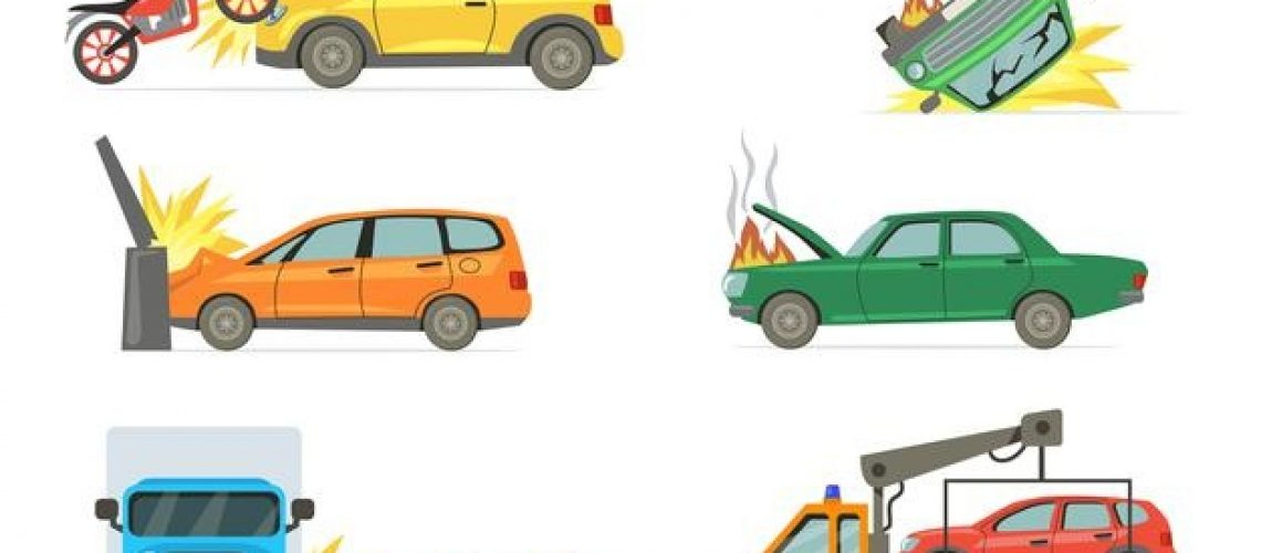 car-crashes-set-road-accident-with-burning-car-motorbike-truck-towel-truck-isolated-white-background_74855-14304